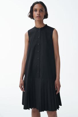 Cos Organic Cotton Pleated Panel Dress