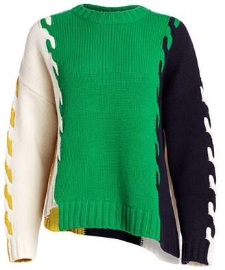 Monse Patchwork Wool High-Low Sweater