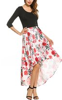 Zeagoo High-Low Blue And Ivory Floral Print Pleated Long Skater Skirt Red S