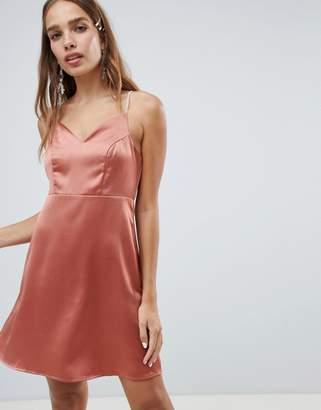 New Look Diamante Trim Satin Dress-Orange