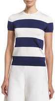 Ralph Lauren Cap-Sleeve Wide-Striped Top, Royal Navy/White