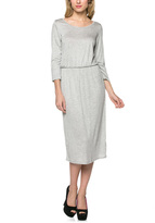 Celeste Heather Gray Cinched Three-Quarter Sleeve Dress