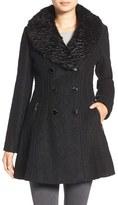 GUESS Bouclé Fit & Flare Coat with Faux Fur Collar