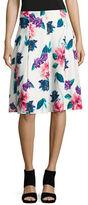 Ellen Tracy Flared Floral-Print Skirt