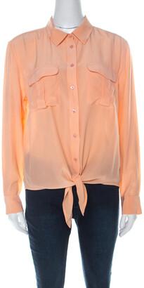 Equipment Pastel Orange Silk Long Sleeve Button Down Shirt S