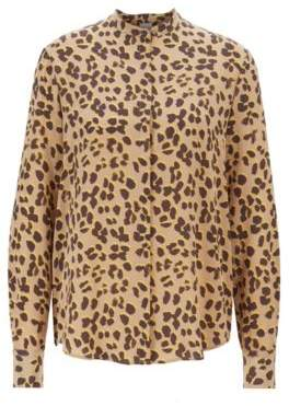 BOSS Relaxed-fit blouse in pure silk with animal print