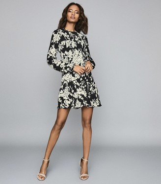 Reiss GABRIELLA FLORAL PRINTED MINI DRESS Black