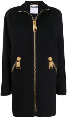 Moschino Zip-Front High-Neck Coat
