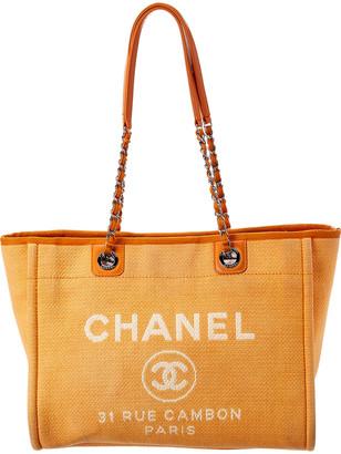 Chanel Orange Canvas Large Deauville Tote