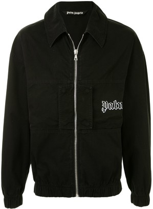 Palm Angels Logo-Print Zip-Up Shirt Jacket