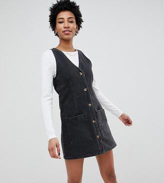 Asos Tall DESIGN Tall denim button through v neck mini pinifore dress-Black