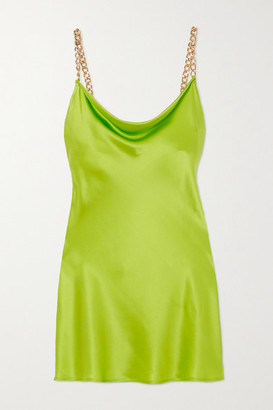 Olivia von Halle Minnie Chain-embellished Silk-satin Mini Dress - Lime green