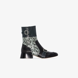 Chloé Blue And Black Cheryl 35 Snake Print Leather Ankle Boots