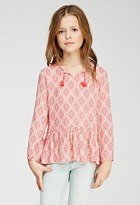 Forever 21 Girls Geo Diamond Print Peasant Top (Kids)