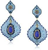 Miguel Ases Lapis and Jade Lotus Earrings