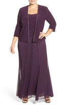 Alex Evenings Plus Size Women's Mock Two Piece Dress With Matching Jacket