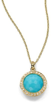 Ippolita Lollipop Small 18K Yellow Gold, Turquoise & Diamond Pendant Necklace