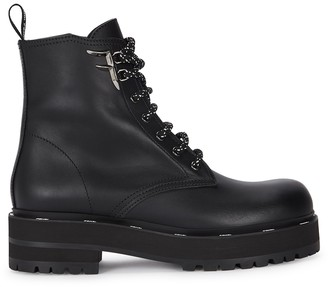 Fendi 50 Black Leather Biker Boots