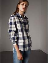 Burberry Check Cotton Flannel Military Shirt