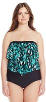 Maxine Of Hollywood Women's Plus-Size Fantastic Bandeau Ruffle Swimsuit