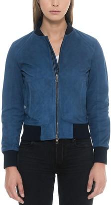 Forzieri Blue Suede Women's Bomber Jacket