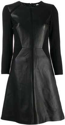 Karl Lagerfeld Paris Panelled Leather Dress