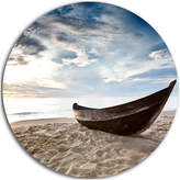 "Old Fisherman Boat, Seashore Photography Round Wall Art, 23"""