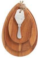Thirstystone Set Of 3 Acacia Wood Cheese Boards & Marble Knife