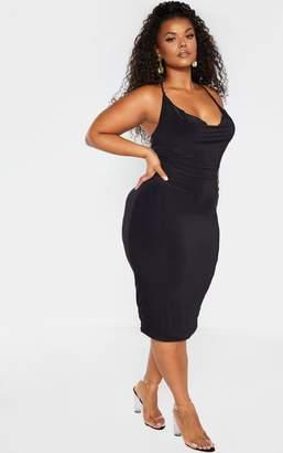 PrettyLittleThing Plus Black Slinky Cowl Neck Midi Dress