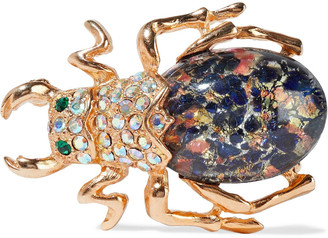 Ben-Amun 24-karat Gold-plated, Swarovski Crystal And Stone Brooch