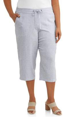 Per Se Women's Plus Size Stripe Linen Drawstring Waist Capri