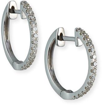 Siena Jewelry 14k White Gold Diamond Medium Huggie Earrings