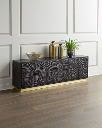 Global Views Forest Leather Faux Bois Entertainment Console