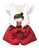 Fheaven Cute Kids Girls Short Sleeve Top T-Shirt+Shorts Pants with Bowknot Outfits Set Clothes (4T)