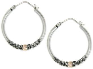 Novica Artisan Crafted Sterling/18K Hoop Earrings