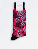 Duchamp Mens Pink Flower Power Socks