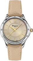 Salvatore Ferragamo Women's Swiss Time Diamond Accent Bisque Leather Strap Watch 33mm FFV02 0016