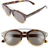 Tom Ford Women's Newman 53Mm Round Sunglasses - Honey/ Rose Gold/ Green