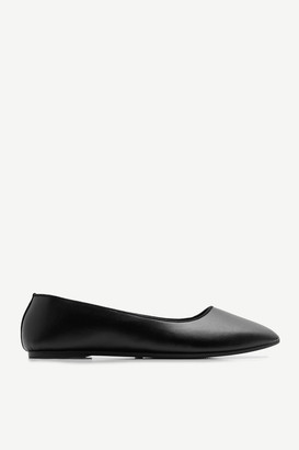Ardene Basic Faux Leather Flats - Shoes |