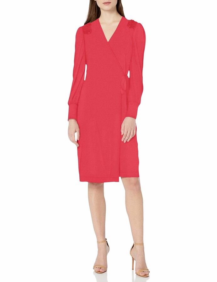 Lark & Ro Amazon Brand Women's Matte Jersey V-Neck Ruffle Shoulder Long Blouson Sleeve Wrap Dress