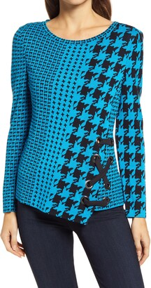 Ming Wang Houndstooth Asymmetrical Sweater