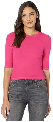 Michael Stars 2X1 Rib Elbow Sleeve Crop (Wildberry) Women's Short Sleeve Pullover