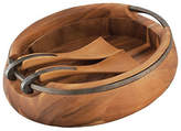 Nambe Anvil Wood Salad Bowl With Servers
