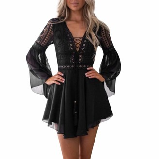 Your New Look Women's Vintage Lace Mesh Patchwork Cocktail Dress Elegant Flare Sleeve Criss Cross Bandage Mini Dress for Party Events Vacation Black