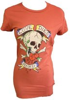 Ed Hardy Womens Basic Rhinestone Love Die Hard Crew Neck T-Shirt