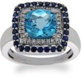 LeVian 14K White Gold Sapphire & Diamond Blue Topaz Engagement Ring Size 6.5