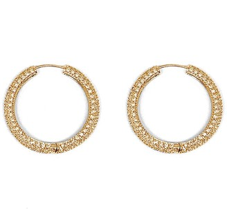 Numbering Large Pave Gold Hoop Earring