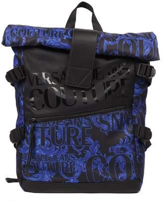 Versace Blue & Black Nylon Backpack With Logo Print