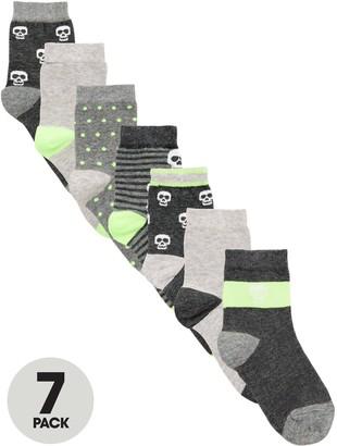 Very Boys 7 Pack Skull Socks - Grey/Lime