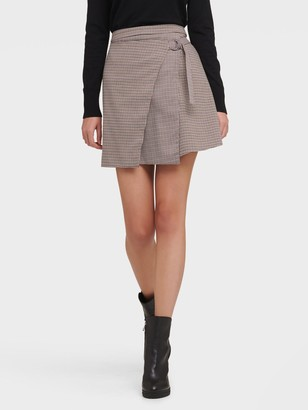 DKNY Women's Plaid Mini Skirt - Beige/Blue - Size 2